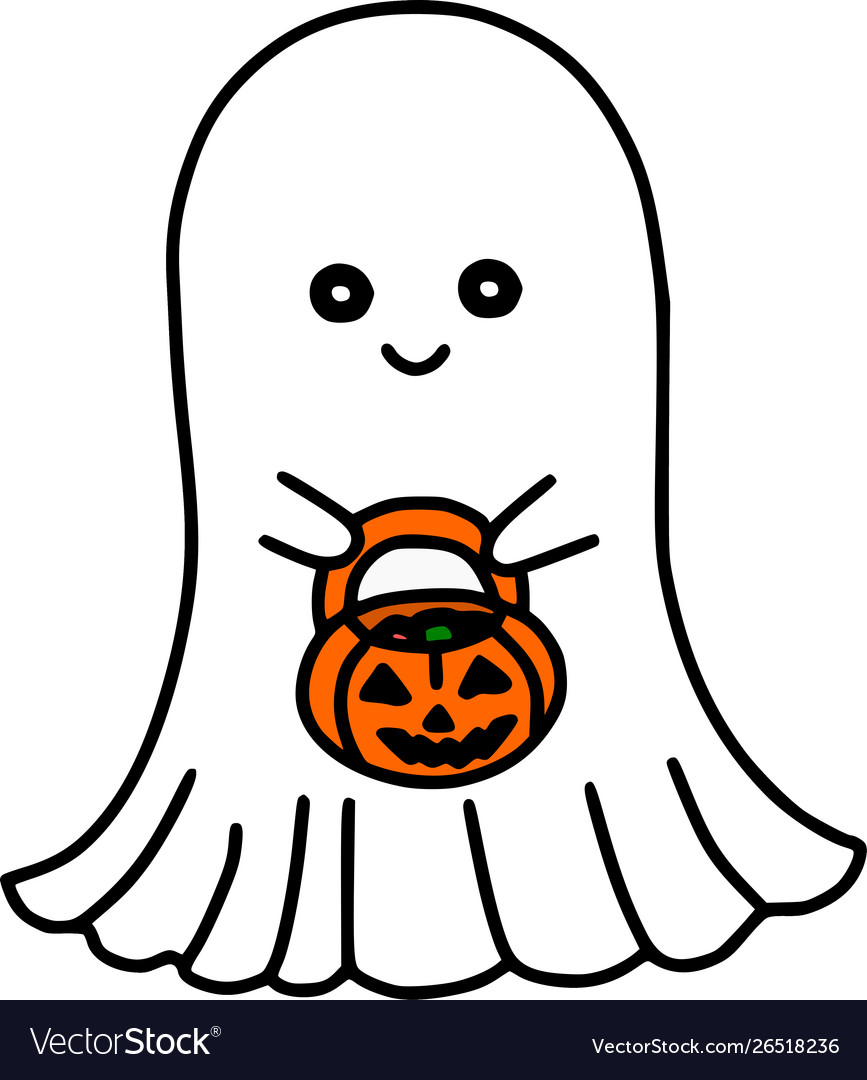 Cute Cartoon Halloween Pictures : cartoon, halloween, pictures, Sheet, Ghost, Halloween, Cartoon, Royalty, Vector, Image