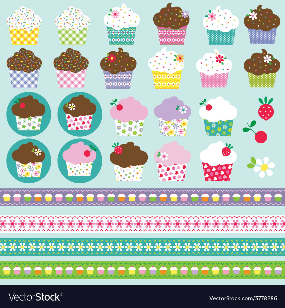 hight resolution of cupcake clipart vector image