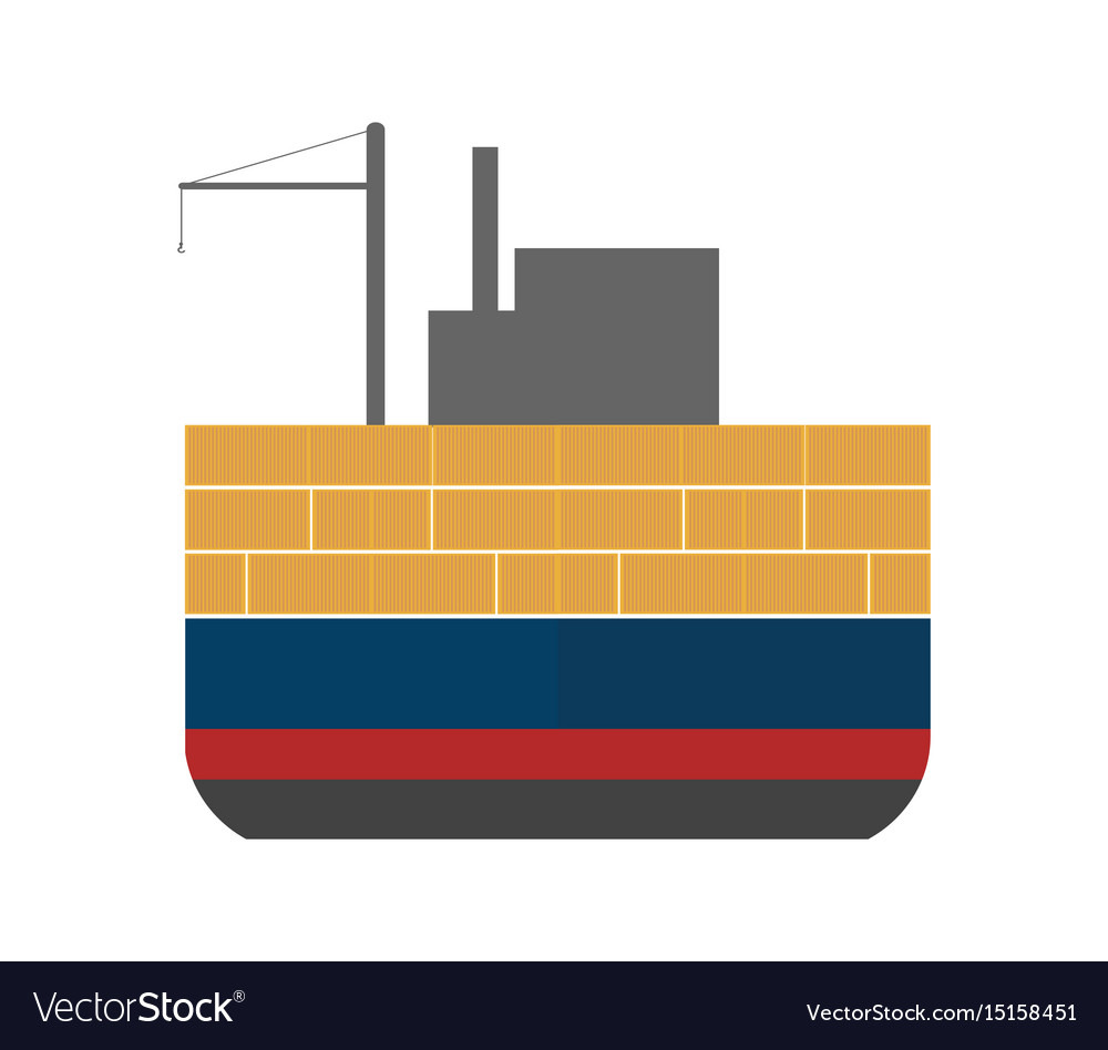 hight resolution of sea freight icon with cargo ship vector image