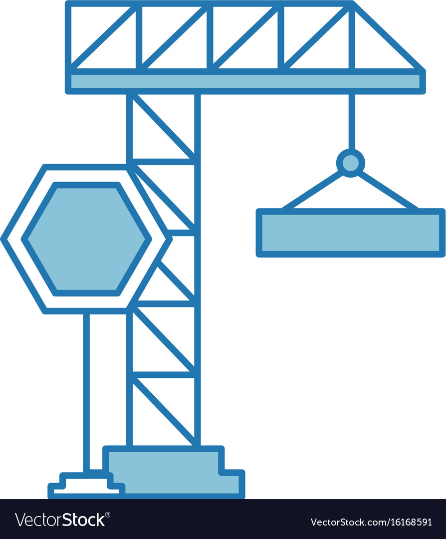 hight resolution of crane construction with stop sign vector image