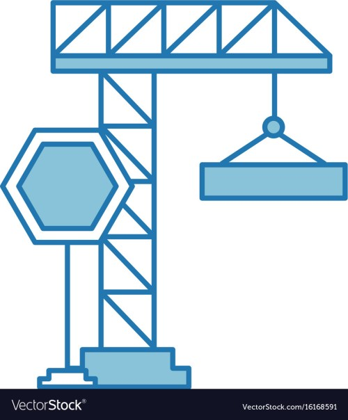 small resolution of crane construction with stop sign vector image