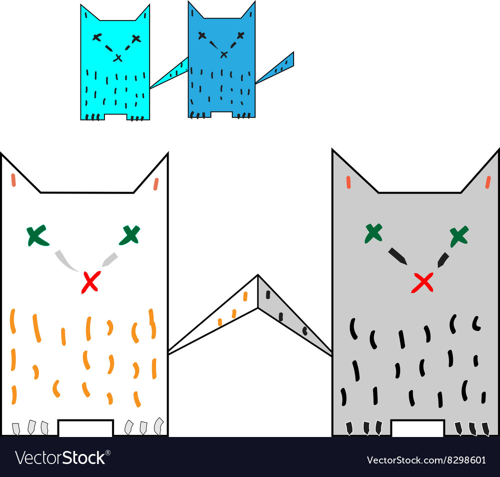 medium resolution of four colorful cat tails are touching vector image