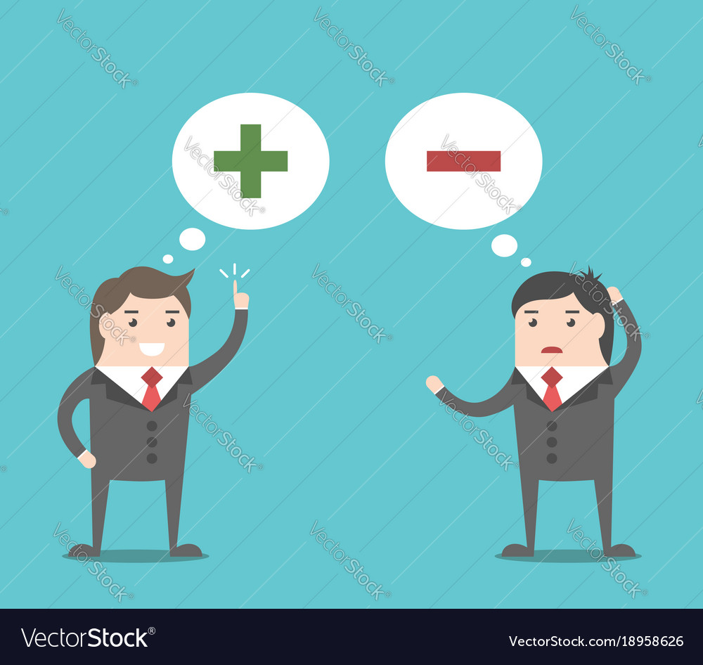 Positive and negative thinking Royalty Free Vector Image