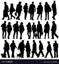 People silhouette walking Royalty Free Vector Image