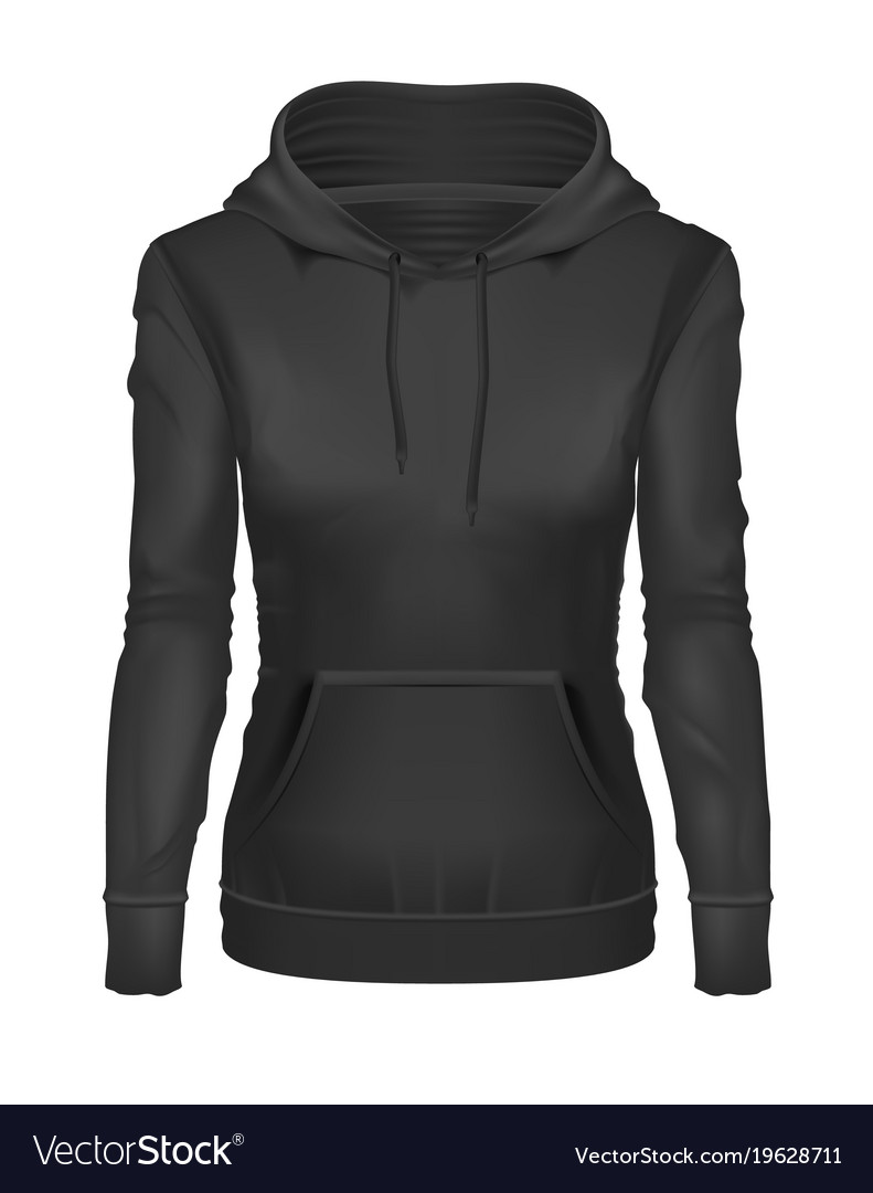 Black Hoodie Template : black, hoodie, template, Realistic, Black, Hoodie, Template, Mockup, Vector, Image