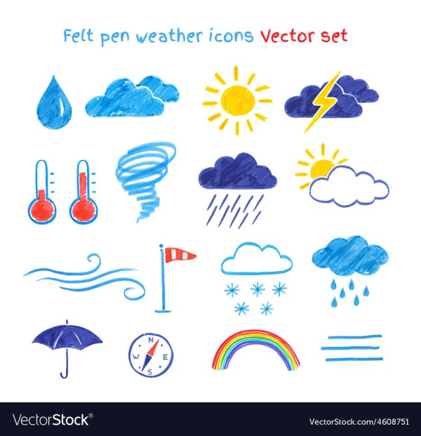 Child Drawings Of Weather Symbols Royalty Free Vector