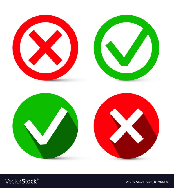 Cross X and Check Mark Symbols
