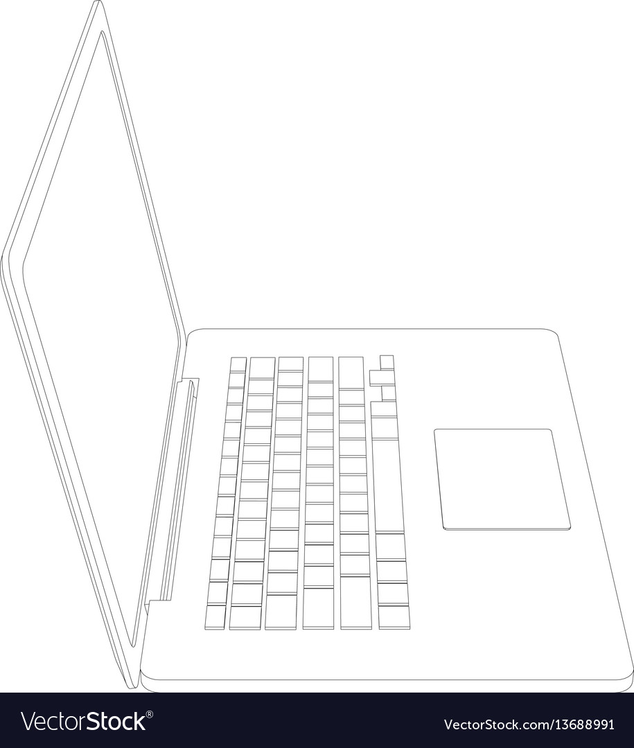 hight resolution of drawing of wire frame open laptop vector image