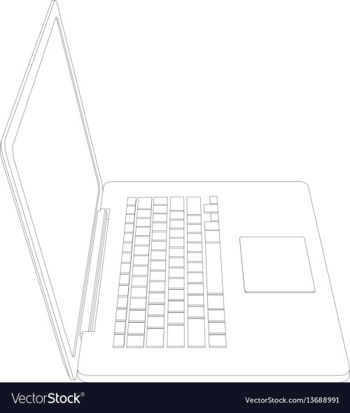 small resolution of drawing of wire frame open laptop vector image