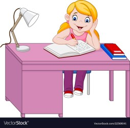 Cartoon little girl studying Royalty Free Vector Image