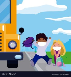 Girl and boy kid cartoon with masks and school Vector Image