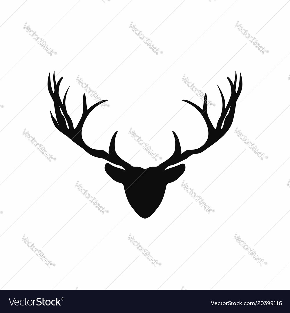 photograph relating to Printable Deer Head Silhouette titled Cheery Deer Intellect Antlers Silhouette Black Royalty Cost-free
