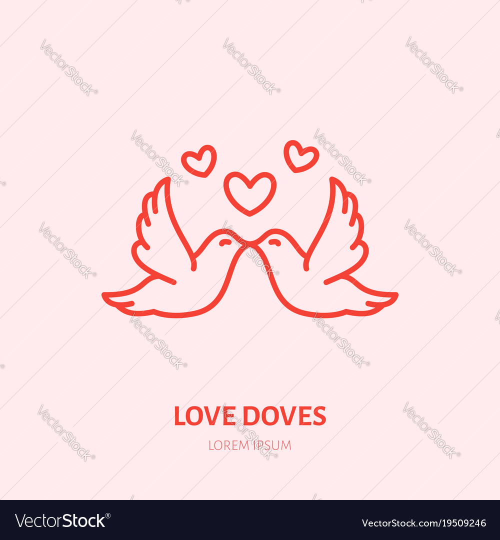 medium resolution of kissing doves two flying birds in vector image