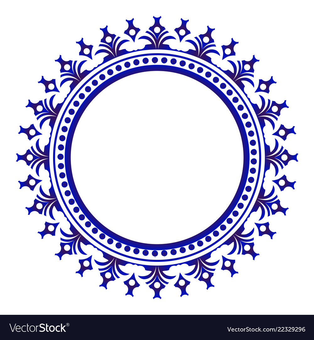 Porcelain Decorative Round Frame Royalty Free Vector Image