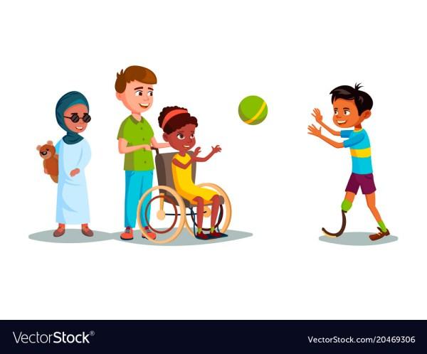Cartoon Disabled Teen Kids Playing Set Royalty Free Vector