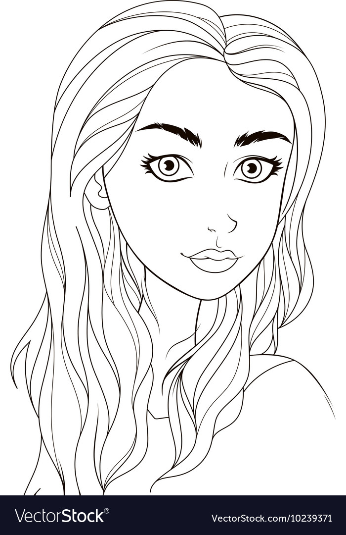 Beautiful Girl Coloring Pages : beautiful, coloring, pages, Pattern, Coloring, Beautiful, Vector, Image