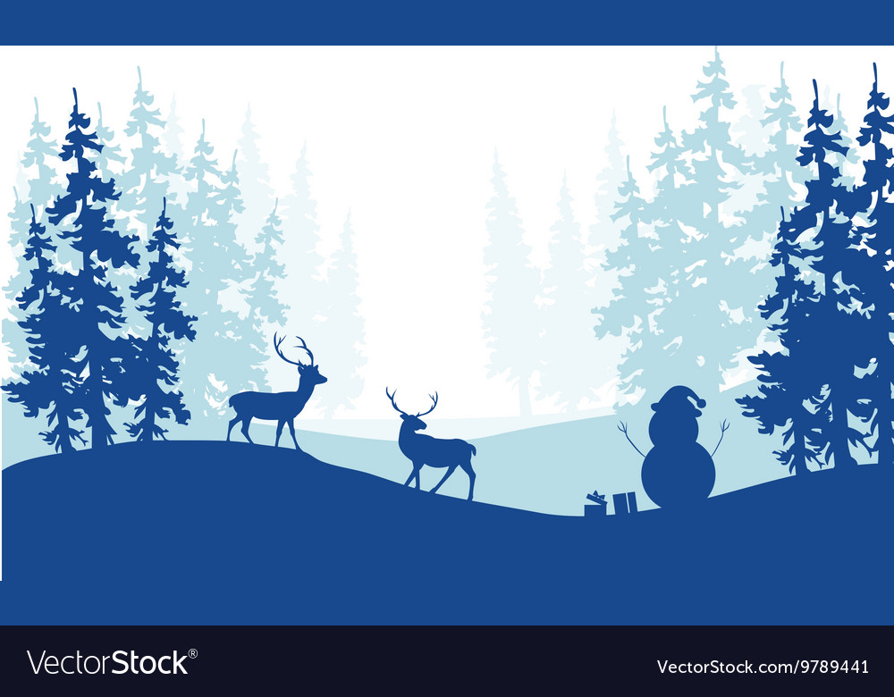 christmas scenery deer and