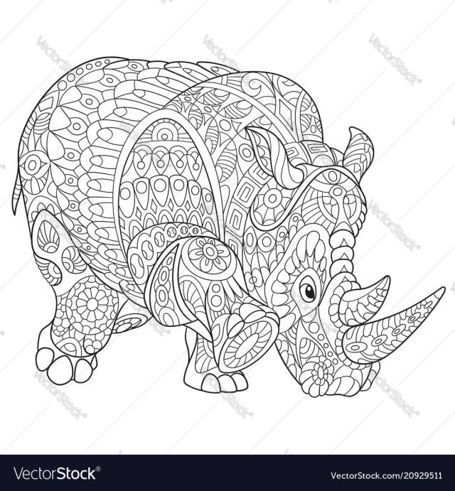 Rhino coloring page Royalty Free Vector Image - VectorStock