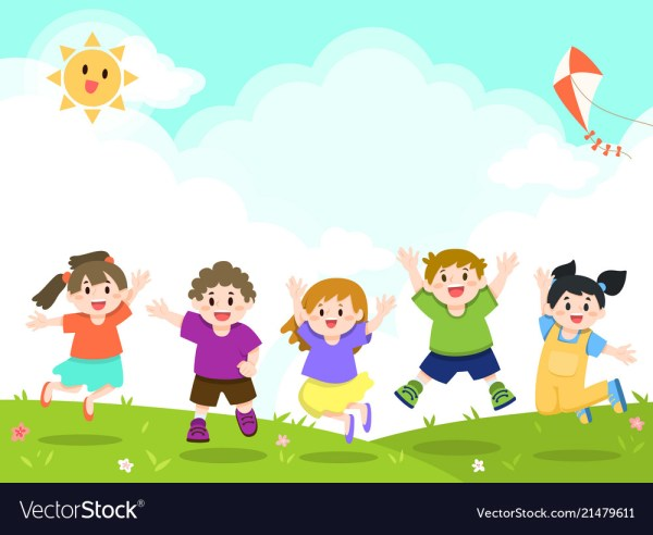 Happy Children Playing Outdoor Park Royalty Free Vector