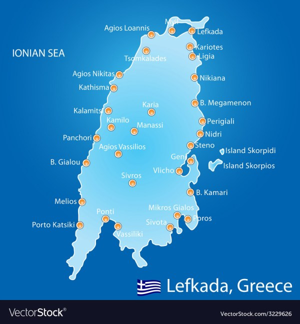 Island of Lefkada in Greece map Royalty Free Vector Image