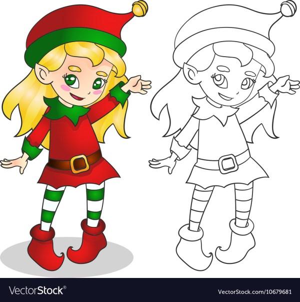 Christmas Elf Girl Character Royalty Free Vector
