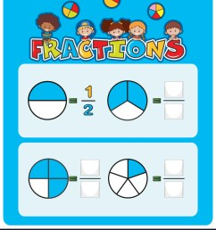 A math fractions worksheet Royalty Free Vector Image [ 1080 x 872 Pixel ]
