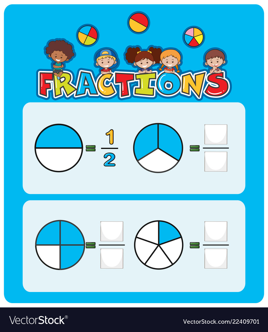 medium resolution of A math fractions worksheet Royalty Free Vector Image
