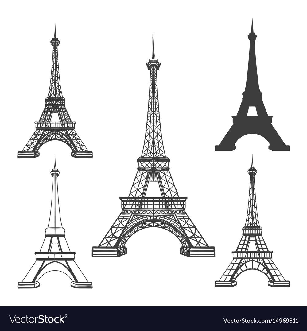 eiffel tower black silhouettes