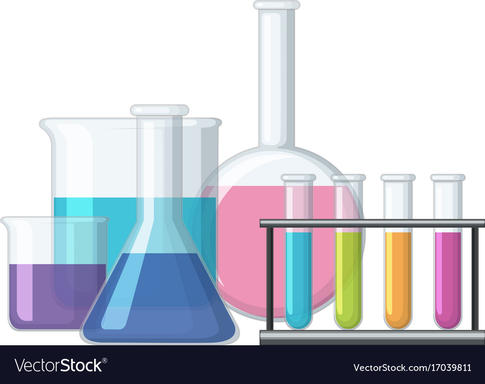 sciene beakers filled with