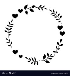 Doodle monochrome heart and leaf circle frame Vector Image