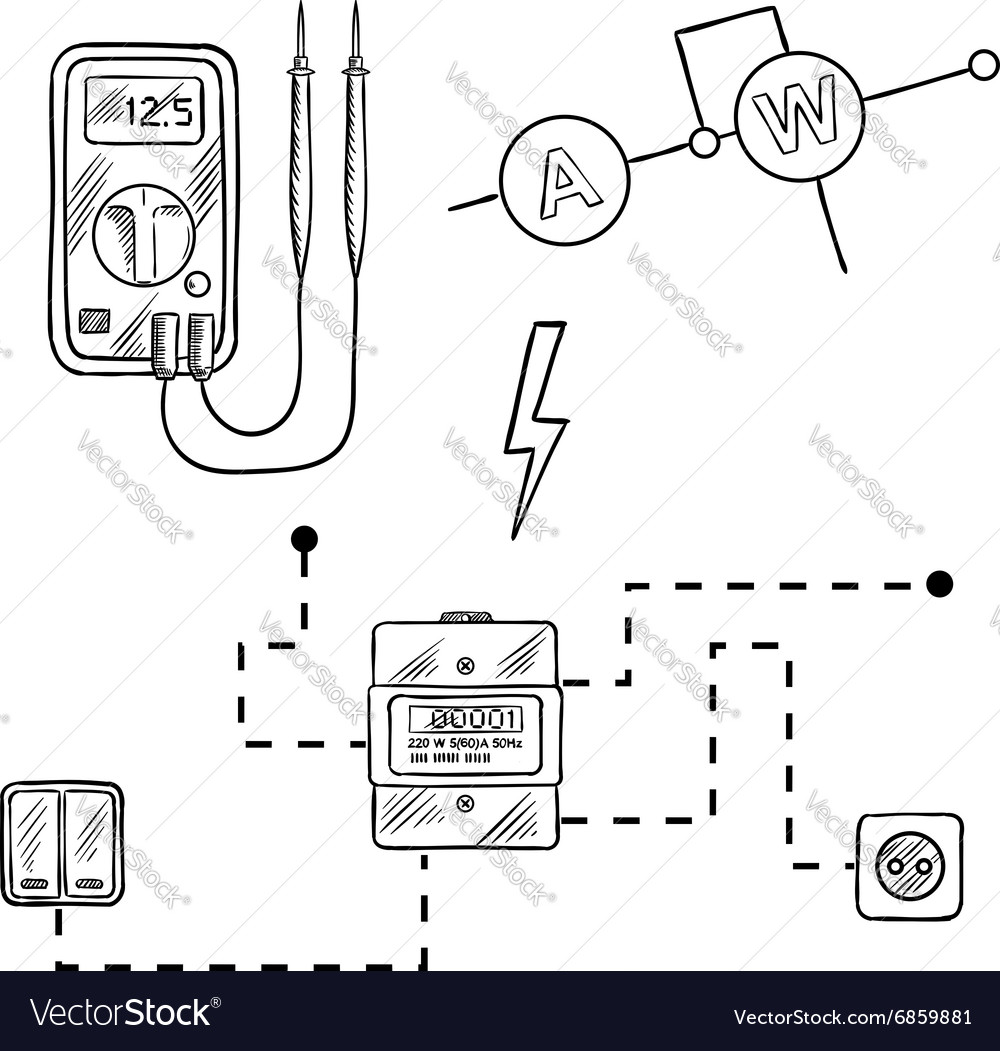 hight resolution of voltmeter electricity meter electrical circuit vector image
