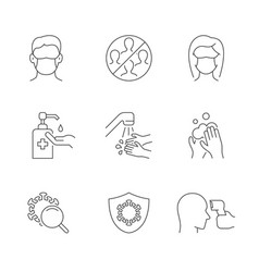 Prevention covid-19 line icons set Royalty Free Vector Image