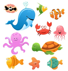 animated sea animals vector