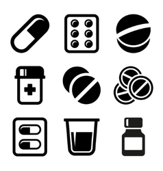 Medicine capsule pills drug pictogram Royalty Free Vector