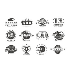 Vintage motorcycle t-shirt graphic set Royalty Free Vector
