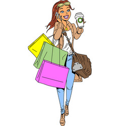 Cartoon Shopping Ladies Vector Images over 4 300