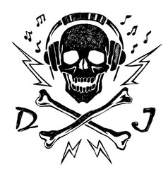 Skull with headphones Royalty Free Vector Image