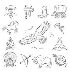 American Indian clipart icons Royalty Free Vector Image