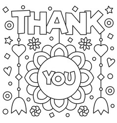 Thank you coloring page Royalty Free Vector Image
