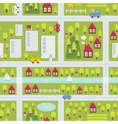 Cartoon map pattern small town Royalty Free Vector Image