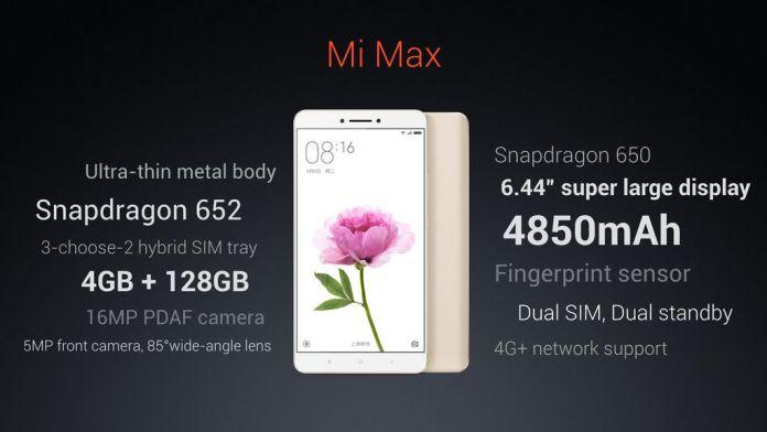 Launched Xiaomi Mi Max Price In India