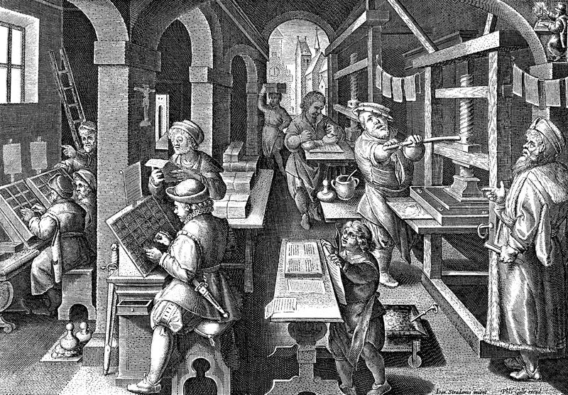 A printing press circa 1600.