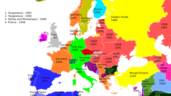 An awesome map of the last time each European country was