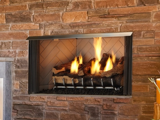 villa outdoor gas fireplace heat glo
