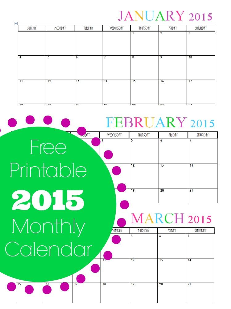 cute monthly calendar 2015