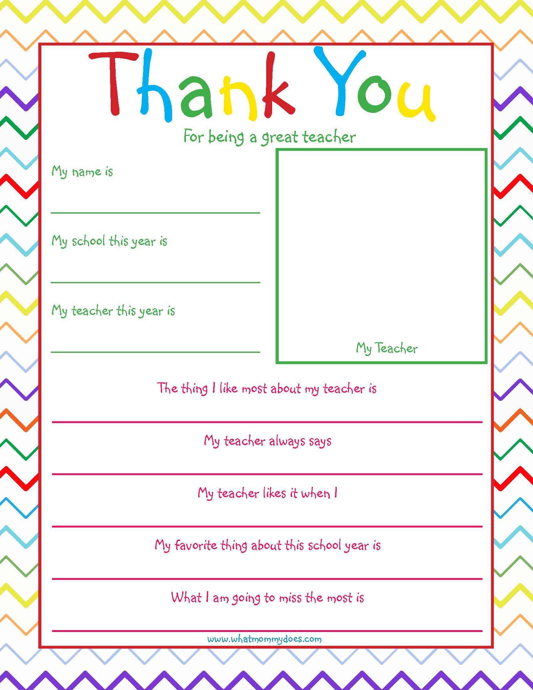 Free Printable Teacher Thank You Note So Cute