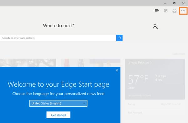 Microsoft Edge - Klicken Sie auf Einstellungen - Windows Wally