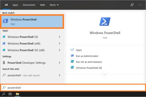 Окно подписи - меню «Пуск» - PowerShell - Windows 10 - Windows Wally