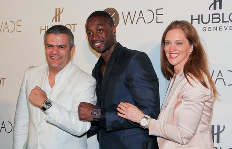 Ricardo Guadalupe, Dwyane Wade and Beatrice De Quervain attend celebration as Dwyane Wade joined Hublot luxury Swiss watch brand to celebrate the opening of the new Bal Harbour Boutique and Wade's new King Power limited edition at Viceroy Hotel at Bal Harbour Shops in Miami, Florida - November 10, 2011