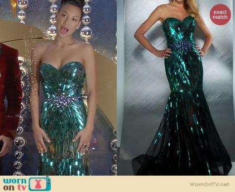WornOnTV Santanas green beaded gown on Glee  Naya Rivera  Clothes and Wardrobe from TV